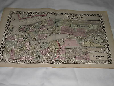 Mitchell's Atlas Map of New York and Brooklyn 1870 Date Original 15in. x 12 in.