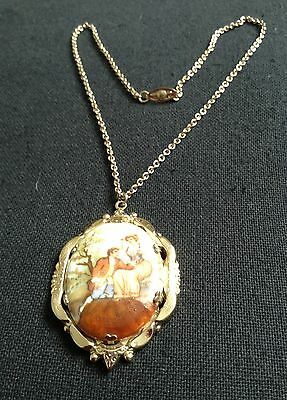 Vintage 1940s Coro Pegasus Cameo Pendent and Necklace
