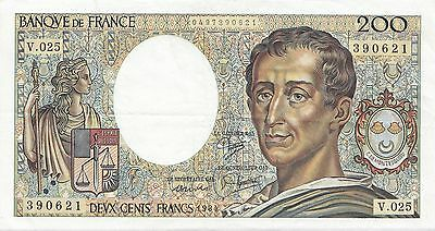 France. Billet de 200 Francs Montesquieu SUP. 1984. Alphabet V.025.