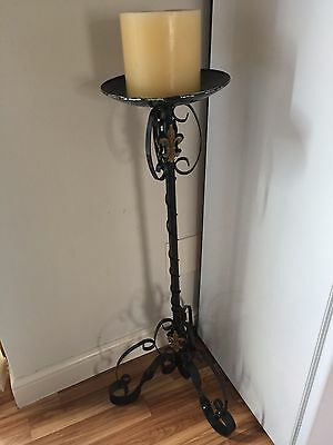 Gothic Wrought Iron Candle Stand - Hand Painted Gold Fleur De Lys  + Candle