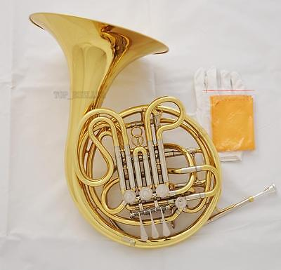 "Professional Gold Lacquer Double French Horn F/Bb 4 Key 12.2"" bell with Case"
