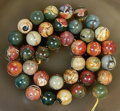 "Natural 10MM PICASSO JASPER STONE ROUND BALL LOOSE BEADS 15"" LL008"