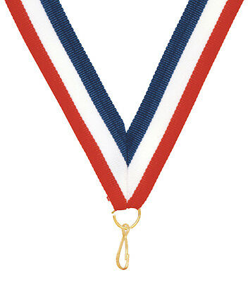 "LOT of 100 Ribbons 7/8 x 32"" Red, White, Blue Neck Ribbon Lanyard w/Snap Clip"