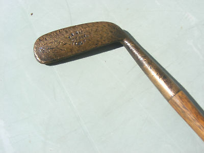 Vintage Antique Hickory Shaft Golf Club  Brass Putter