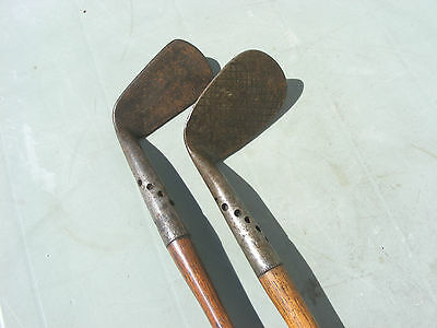 2 Vintage Antique Hickory Shaft Golf Club Irons