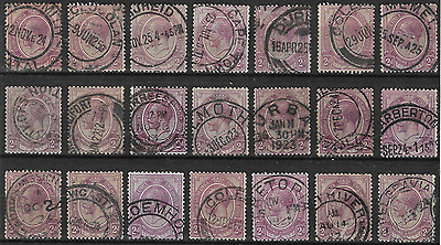 South Africa 1913 KGV SG6 2d Purple Group of Singles with Postmarks Used #1