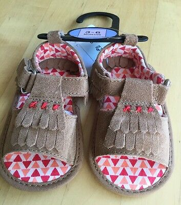 Marks & Spencer Baby Pram Shoes Sandals New Leather Suede Size 3/6 Months
