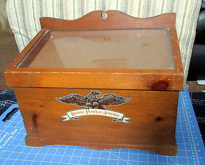 Vintage Wood DISPLAY CASE Colonial style Americana Country Store 5 Jewelry Trays