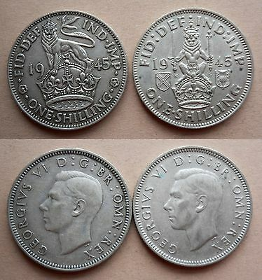 G.B. SILVER SHILLINGS of 1945 for ENGLAND & SCOTLAND - 2 COINS