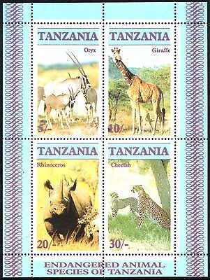 (Ref-10872) Tanzania 1986 Endangered Animals Miniature Sheet SG.MS483 Mint (MNH)