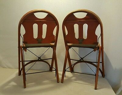 TWO Vintage SOLID KUMFORT ~ Folding Chairs ,Wooden & padded seat