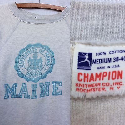 Vintage 50s 60s Champion Sweatshirt University Maine Black Bears Running Man
