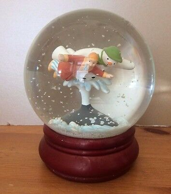 COALPORT CHARACTERS- WALKING IN THE AIR SNOW GLOBE 1st ED SNOWMAN COLLECT FIGURE
