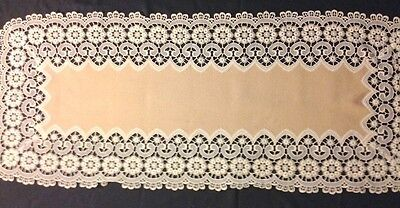 Great Vintage Exceptional Chemical Lace Richly Decorated Runner  42 x 17 1/2""