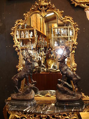Impressive Pair Of Bronze Scottish Stags On Marble Bases @ Aunties Parlour Wow!