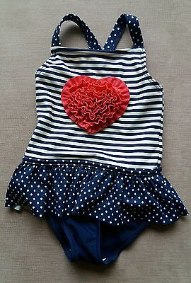 girls swimming costume 12-18 mths blue spots stripes pink heart