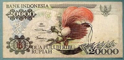 INDONESIA 20000 20 000 RUPIAH NOTE , P 132 a ,  1992 ISSUE, BIRD OF PARADISE