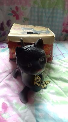 VINTAGE / ANTIQUE TRIANG MINIC KITTY & BUTTERFLY clockwork toy with box & key