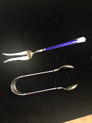Marius Hammer Antique Norwegian 930 Silver Enameled Fork And Tong Set