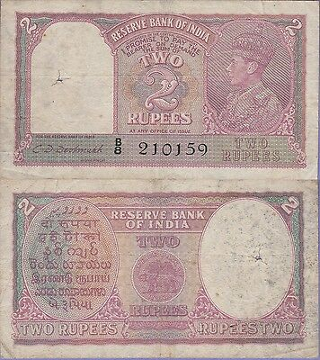 India 2 Rupees Banknote,1943 Choice Fine Condition Cat#17-B-0159