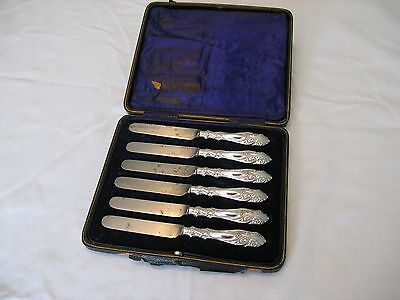 6 VINTAGE SILVER PLATE SIDE or BUTTER KNIVES. GREAT HANDLES