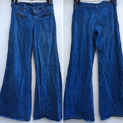 "Vintage Bell Bottom Jeans Bell Bottoms Wide Leg 70s 30"" Waist Hip Huggers"