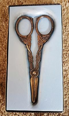 Vintage Denmark Decorative Silver plate Scissors with Grapes Leaves