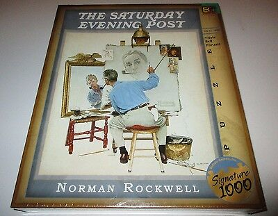 Norman Rockwell Triple Self Portrait 1000pc Puzzle SEALED Buffalo Games