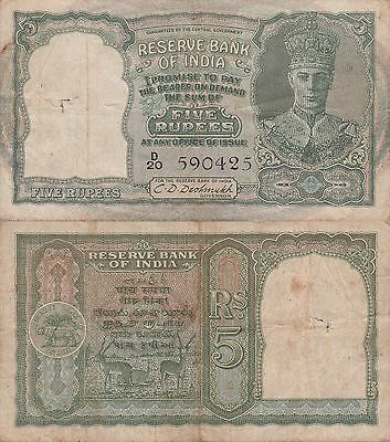 """India 5 Rupees Banknote,(1943) Choice Fine Condition Cat#23-A-0425""""King George"""""""