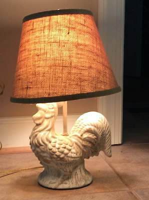 "Ceramic Rooster Chicken Americana Folk Art Rustic Farm Country Décor 9"" Lamp"