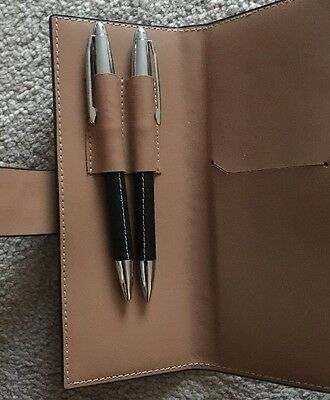 Pen And Pencil Set, Leather Cased Barrel, Faux Leather Case.