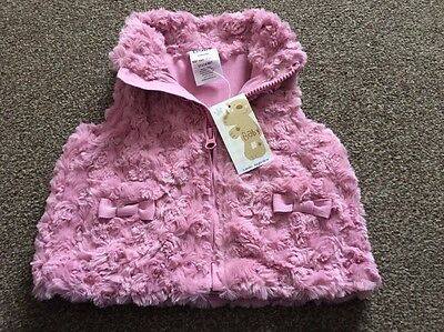 Gorgeous Faux Fur Baby Girl Pink Waistcoat 3-6 Months New With Tags