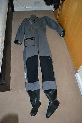 The Mens Halo Zip Drysuit, Charcoal With Thermal under suit.
