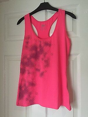 LADIES SMALL Gym/Exercise Vest Neon Pink with Grey Detailing