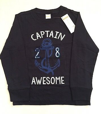GYMBOREE Boys clothing Kids size 6 Navy Anchor Long Sleeve T-shirts NEW with Tag