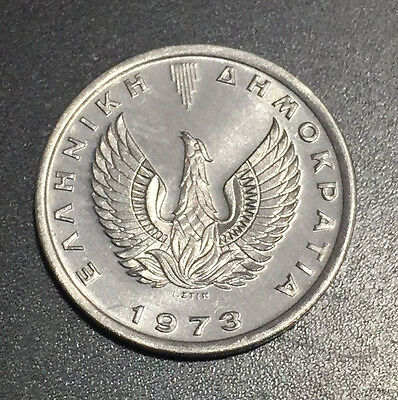 1973 Greece 20 Lepta Aluminum UNC KM #105 Single Year Issue Pheonix
