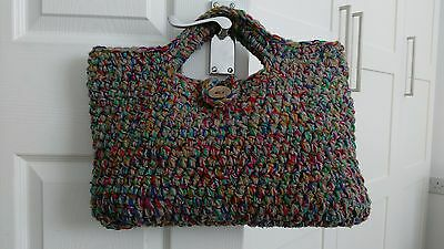 Handmade crochet tote craft bag - unique