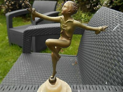 Cold Painted Metal Art Deco Figure of a Lady Dancing on a Marble base.