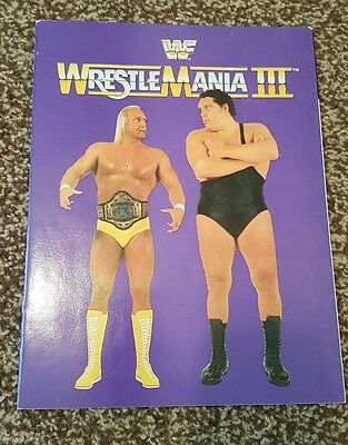 Official wwf wwe wrestlemania 3 souvenir program