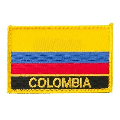 """COLOMBIA FLAG EMBROIDERED PATCH WITH NAME - IRON-ON - NEW 2.5 x 3.5"""""""