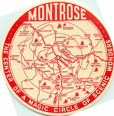 MONTROSE COLORADO - Great Old Travel Map / Tourist Luggage Label, c. 1955
