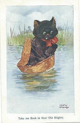 A.E. Kennedy & Knight  Black Cat on river in a basket