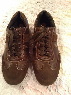 XTI Mens/Boys Brown Lace Up Leather Suede Trainer Shoes Size 8/42 Hardly Worn
