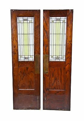 Matching Early 20Th C. Drummond Art Glass And Oak Wood Swinging Doors