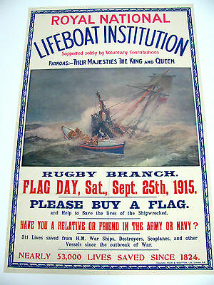 Original WWI British War Poster, Royal National Lifeboat Institution,1915, Linen