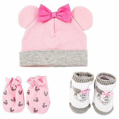 Disney Minnie Mouse Hat, Mitts and Socks Take Me Home Gift Set, Baby Girls, 0-3M