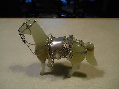 Oriental Green Hardstone Horse with Solid Silver Tack