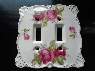 Vintage Porcelain Rose Double Light Switch Cover Plate Shabby Chic Japan