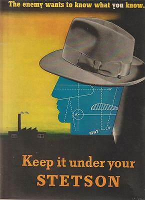 Ww2 Ad The Enemy Wants To Know What You Know Keep It Under Your Stetson Hat