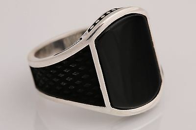 New! Turkish Jewelry Different Black Onyx 925 Sterling Silver Men's Ring Size